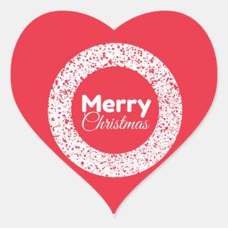 Etiqueta vermelha do coração do Feliz Natal