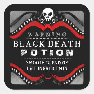 Etiqueta vermelha do Dia das Bruxas branca preta Adesivo Em Forma Quadrada