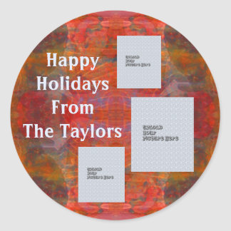 Etiqueta vermelha do feriado do modelo da foto da adesivo