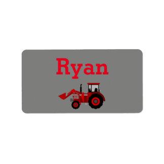 Etiqueta vermelha do trator