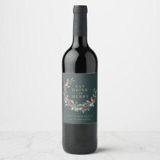 Etiqueta vermelha do vinho da grinalda do feriado
