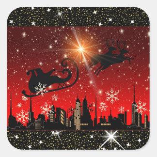 Etiqueta vermelha e preta do Natal da cidade