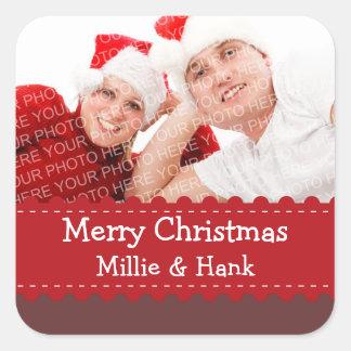 Etiqueta vermelha esperto do Feliz Natal da foto Adesivos Quadrados