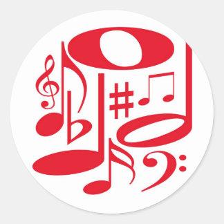 Etiqueta vermelha musical adesivos em formato redondos