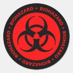Etiqueta vermelha & preta do símbolo do Biohazard Adesivos Redondos