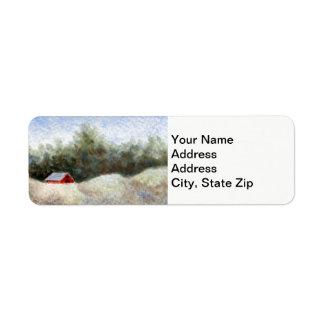 Etiqueta Vertente do celeiro dos campos da floresta das