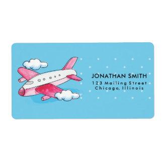 Etiqueta Viagem do avião da aguarela