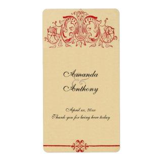 Etiqueta Victorian do vintage, vinho barroco, Wedding,