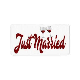 Etiqueta Vidros de vinho vermelhos do recem casados de