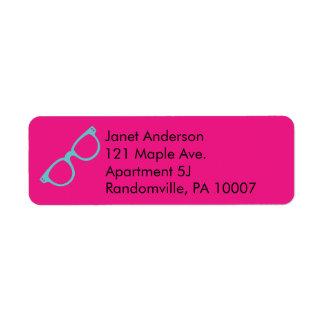 Etiqueta Vidros retros azuis cor-de-rosa e brilhantes