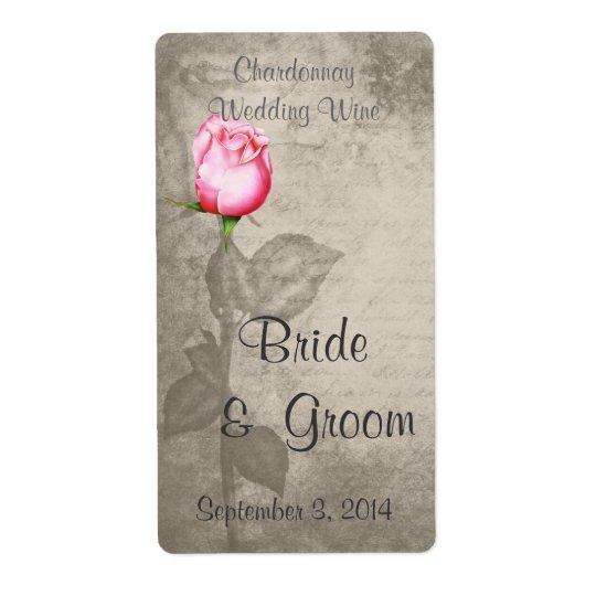 Etiqueta Vinho do casamento do rosa do rosa da cor de ponto
