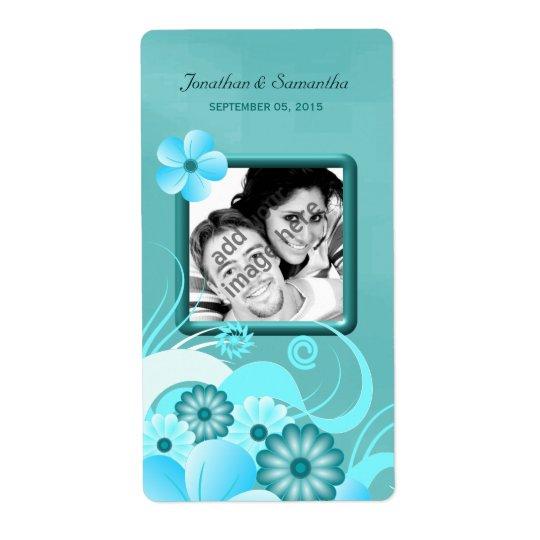 Etiqueta Vinho floral do favor da foto do casamento da