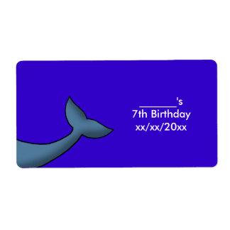 Etiqueta Vinho ou garrafa de água da cauda da baleia de