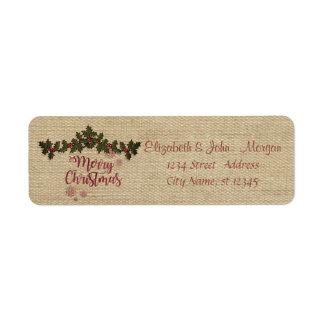 Etiqueta Vintage, ramos da baga do azevinho, Feliz Natal