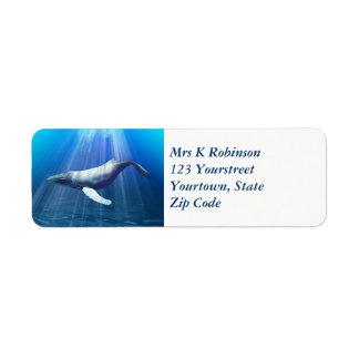 Etiqueta Watercolour da baleia de Humpback
