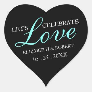 Etiqueta Wedding do convite do coração do rosa & Adesivo Coração