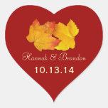 Etiqueta Wedding personalizada da queda do coração Adesivo De Coração