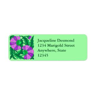 Etiqueta William Morris Jacobean, orquídea roxa e verde