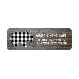 Etiqueta Xadrez rústica do lenhador do urso preto do país
