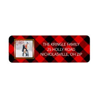 Etiqueta Xadrez vermelha da flanela da foto do Feliz Natal
