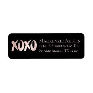 Etiqueta XOXO coram roteiro chique cor-de-rosa do curso da