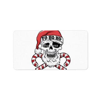 Etiqueta Yo ho ho - papai noel do pirata - Papai Noel