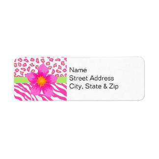 Etiqueta Zebra & chita cor-de-rosa, branca & verde & flor