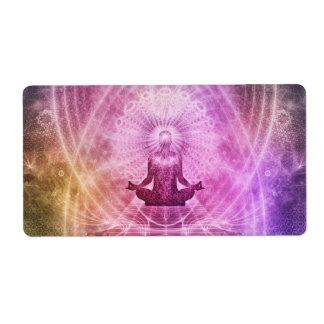 Etiqueta Zen espiritual da meditação da ioga colorido