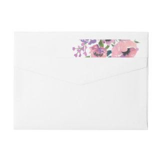 Etiquetas A lavanda cor-de-rosa da aguarela floresce o