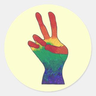 Etiquetas abstratas do sinal de paz da mão do