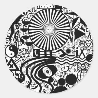 Etiquetas abstratas preto e branco adesivo
