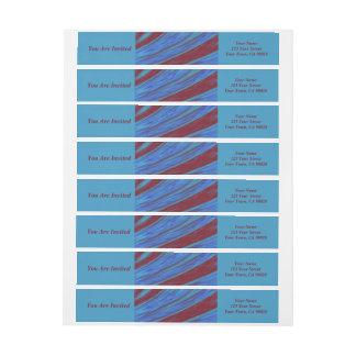 Etiquetas Abstrato da abanada da cor de azul vermelho