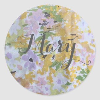 Etiquetas - aguarela floral do tecido do vintage