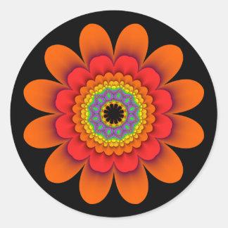 Etiquetas alaranjadas de flower power do Fractal
