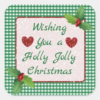 Etiquetas alegres do Natal do azevinho verde da