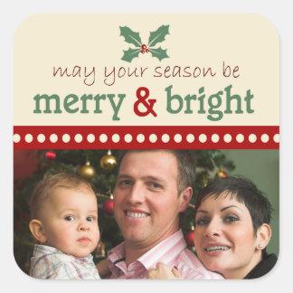 Etiquetas alegres e brilhantes do feriado da foto adesivo quadrado