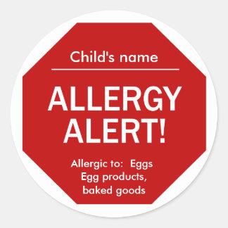 Etiquetas alertas da alergia adesivos em formato redondos