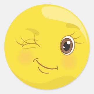 Etiquetas amarelas bonitos de Emoji do piscar os