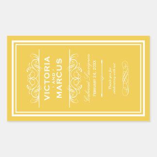 Etiquetas amarelas do favor do monograma da adesivo retangular