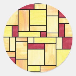 Etiquetas amarelas e vermelhas do vitral adesivo redondo