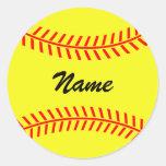 Etiquetas amarelas personalizadas do softball adesivos em formato redondos
