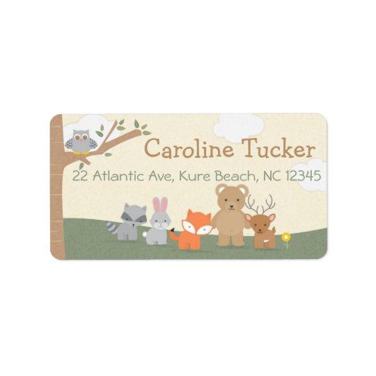 Etiquetas animais do partido de chá de fraldas da etiqueta de endereço