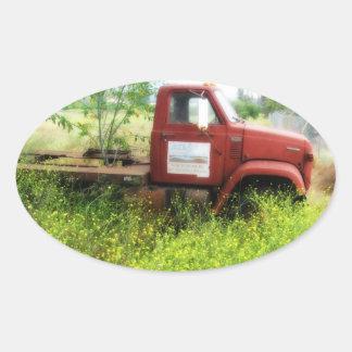 Etiquetas antigas do Oval do caminhão e da árvore Adesivos Em Formato Ovais