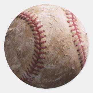 Etiquetas ásperas vestidas velhas do basebol adesivo