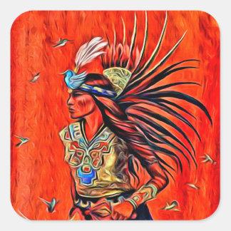 Etiquetas astecas do nativo americano do dançarino