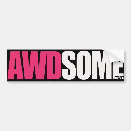 etiquetas awdsome cor-de-rosa/logotipo preto 1 adesivo