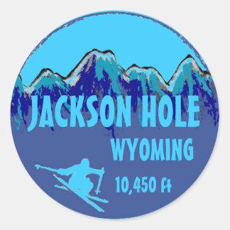 Etiquetas azuis da arte do esqui de Jackson Hole Adesivo