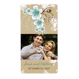 Etiquetas azuis da foto do casamento do hibiscus