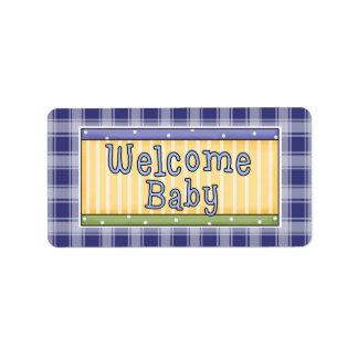Etiquetas azuis de Avery do bebé bem-vindo Etiqueta De Endereço