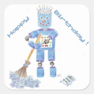 Etiquetas azuis do aniversário do robô